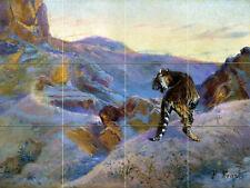 Wildlife Art Tiger Mountains Ceramic Mural Backsplash Bath Tile #2279