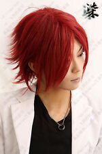Cosplay Hakuouki   Harada left of the help Short Dark Red COS Wig  AE56