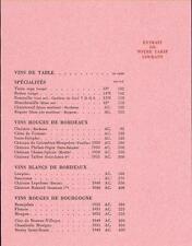 Tarif catalogue NICOLAS 1953 EONOLOGIE VIN vignoble wine Draegger