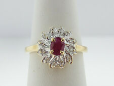 Estate Natural Red Ruby Diamonds Solid 14k Two-Tone Gold Ring FREE Sizing