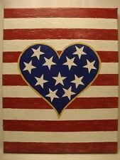 USA American Heart Stripes and Stars Acrylic Hand Painted Abstract Made in USA