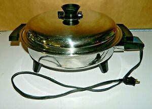 Lifetime 92010 Stainless Steel Liquid Core West Bend Electric Skillet USA 1500 W