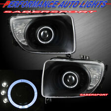 Set of Pair Black Projector Headlights w/ Halo Rims for 2003-2006 Honda Element