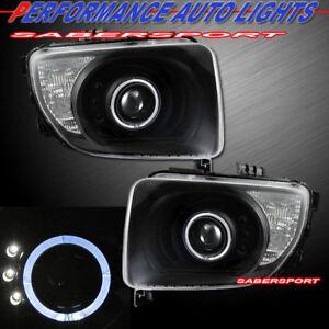Set of Pair Black Projector Headlights w/ Halo Rims for 2003-2006 Honda Element