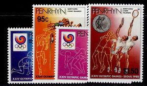 COOK ISLANDS - Penrhyn Island QEII SG420-423, 1988 olympic medals set, NH MINT.