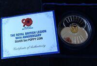 2011 SILVER PROOF 5OZ JERSEY £10 POPPY COIN BOX + COA 90th BRITISH LEGION