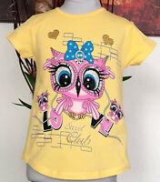 Kinder Mädchen T-shirt Gr. 110 mit Eule  kurzarm Sommershirt