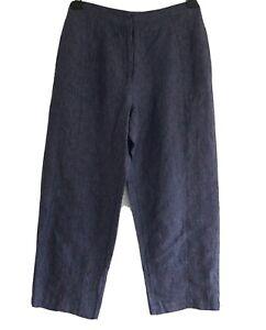 POETRY WOMEN'S BLUE 100% LINEN WIDE LEG CROPPED TROUSERS.SIZE UK 8, US 4.