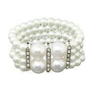 WHITE PEARL AND DIAMANTE STRETCH BRACELET FOR WOMEN COSTUME FASHION JEWELLERY