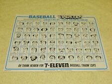 "1978 7-11 Baseball Star Cups Checklist Sheet (Measures: 8.5""x11"") - RARE!!!"