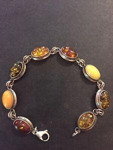 """Multi Color Genuine Natural baltic amber bracelet 925 Sterling Silver 7"""""""