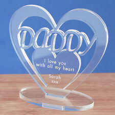 Personalised Heart Message Ornament Keepsake Daddy Father's Day Birthday Gift