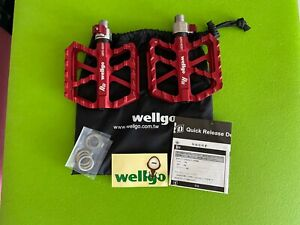 Wellgo Quick Release QRD-B257 pedals bicycle bike RED anodized aluminum NEW