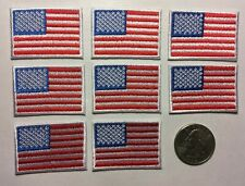 """American Flag Patch United States of America USA 8 pack Iron on 1 5/8"""" wide 8 pc"""