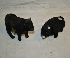 Vintage Japanese Windup Fabric Covered Tin Toy Bear and Cow
