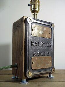 Vintage/Antique Cast Iron Sign Rustic/Industrial/Steampunk Table/Desk Lamp/Light