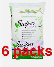 6 Packs Swipes Lovin Wipes Natural Flushable Intimate Towelettes, Cucumber42ea