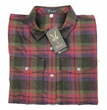 Nwt Ibex Flannel Shirt Womens size S Small Merino Wool Red Green A2 11