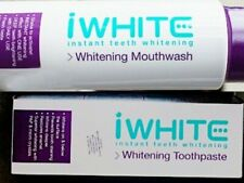 iWhite Whitening mouthwash + toothpaste  removes  dental plaque  teeth fortifies