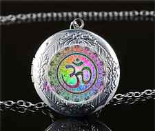 OM mandala Photo Cabochon Glass Tibet Silver Locket Pendant Necklace