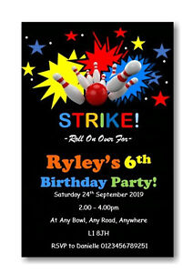 12 Personalised Bowling Birthday Party Invitations - Invites B58 Girls or Boys