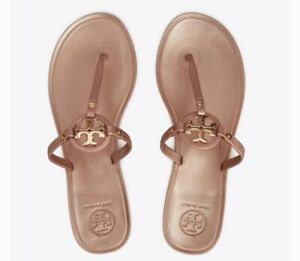 TORY BURCH Rose Gold Mini MILLER Jelly Thong Sandals Sz 9 New! **FREE Shipping**