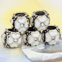 5pcs Tibetan Silver Flower White Bead Fit European Charm Bracelet Wholesale