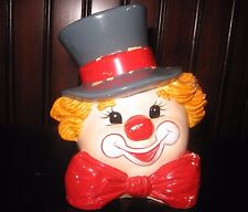 "Vintage Enesco Clown Head Ceramic Coin Bank 6"" Tall Rare"