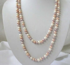 7-8mm white pink purple Multicolor freshwater pearls necklace 34""