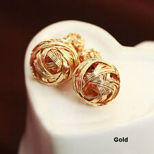 Charm Girl Double Sides Hollowed Gold Plated Ball Ear Studs Earrings Jewelry TRO