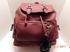 Candies Grommet Faux Leather Drawstring Backpack With Cat Pom Pom Burgundy NEW