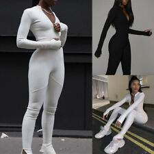 Women Long Sleeve Sport Gym Fitness Stretch Zip Jumpsuit Running Romper Playsuit