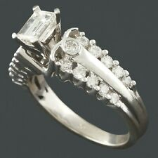 Solid 14K White Gold & 1.18 Cttw Diamond Estate Wedding, Engagement Ring