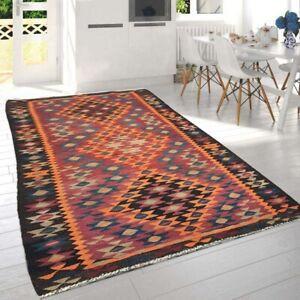 12486 Vintage Afghan kilim Turkish Rug Tribal Rug Handmade Kilim Floral rug 4x9
