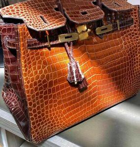 HERMÈS Krokodil Kroko Croco Birkin 35 Bag Damen Tasche Handtasche Handbag Gold