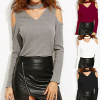 Womens Choker V Neck Cold Off Shoulder T-Shirt Long Sleeve Blouse Tee Top