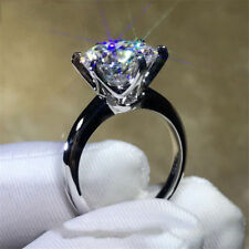 3.06Ct Moissanite Brilliant Cut Solitaire Engagement Ring 14K White Gold Over