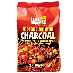 Instant Lighting Charcoal BBQ Barbecues Grill Open Fire Outdoor 2 x 1Kg Bags