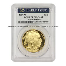 2019-W $50 Gold Buffalo PCGS PR70DCAM Early Issue Proof Deep Cameo 24KT 1oz coin