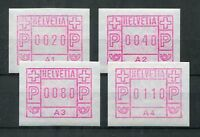 5743) SCHWEIZ 1976 - ATM Mi.Nr. 1 ** Automatenmarken Satz A1 - A4