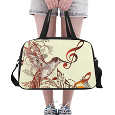 Lovely Overnight Bag Duffle Hummingbird and Music Notes Weekender Travel Bag