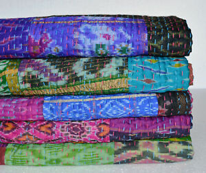Kantha Silk Bedspread Vintage Sari Ethnic Indian Patch Throws Old Quilt Cover