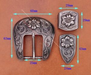 "1"" Vintage Silver Western Cowboy Ranger HandCraft Flower 3 Piece Set Belt Buckle"