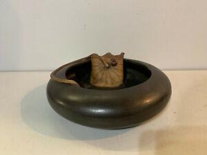 Antique Art Nouveau / Deco Art Pottery Bowl Lily Pad Decoration w Impressed Mark