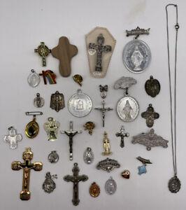 Vintage Group of 33 Catholic Crucifix Cross Pins   R