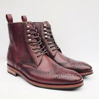 Mens Vintage Dress Boots Casual Handmade Brogue Wing Tip Real Calf Leather Shoes