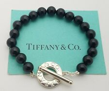 "Tiffany & Co. Sterling Silver 8mm Black Onyx Bead Toggle Bracelet 7"" in"