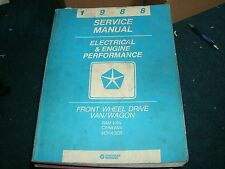 1988 DODGE RAM VAN CARAVAN VOYAGER ELECTRICAL ENGINE PERFORMANCE SHOP MANUAL