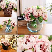 Artifical Silk Peony Flower Bridal Hydrangea Wedding Home Decor 1Bouquet 5 Heads