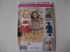 "New Simplicity pattern 1245 18"" Doll Fashion Girl Clothes Couture Dress Coat"